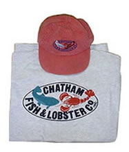 Chatham Fish & Lobster grey t-shirt and red hat